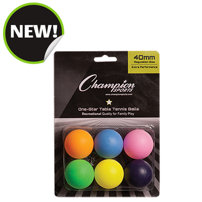 Champion Sports 1STAR6MP 8 x 5.75 x 1.5 in. 1 Star Table Tennis Multicolor - 6 per Pack