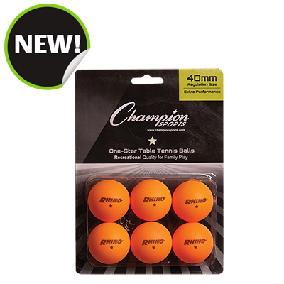 Champion Sports 1STAR6OR 8 x 5.75 x 1.5 in. 1 Star Table Tennis Orange - 6 per Pack