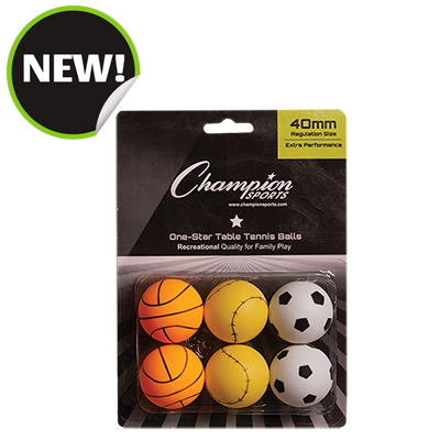 Champion Sports 1STAR6SP 8 x 5.75 x 1.5 in. 1 Star Table Tennis - 6 per Pack