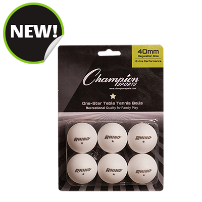 Champion Sports 1STAR6WH 8 x 5.75 x 1.5 in. 1 Star Table Tennis White - 6 per Pack