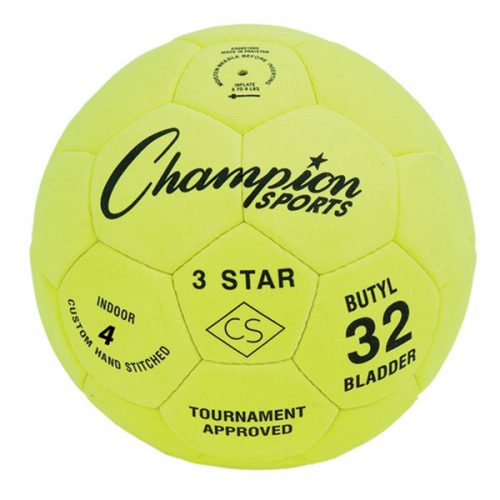 Champion Sports 3STAR4 3 Star Soccer Ball Yellow & Black - Size 4