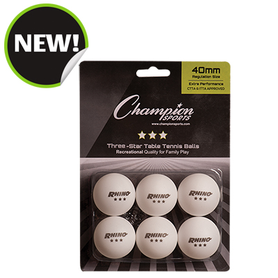 Champion Sports 3STAR6WH 8 x 5.75 x 1.5 in. 3 Star Table Tennis Ball White - 6 per Pack