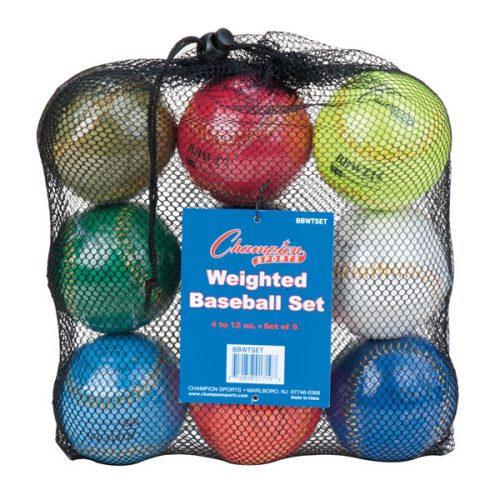 Champion Sports BBWTSET 9 in. Weighted Training Baseball Set Assorted colors - Set of 9