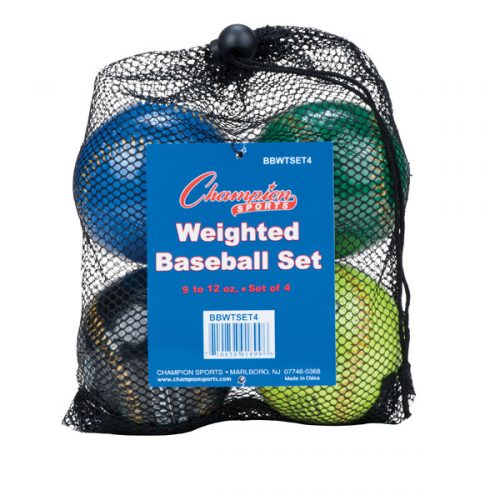 Champion Sports BBWTSET4 9 in. Weighted Training Baseball Set Assorted colors - Set of 4