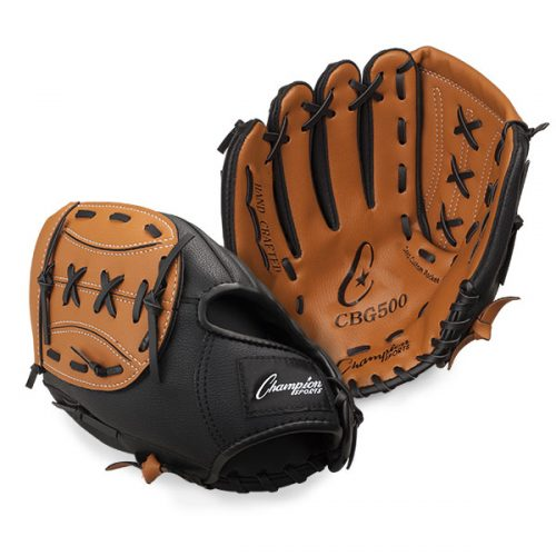 Champion Sports CBG500RH 11 in. Full Grain Leather Front & Vinyl Back Fielders Glove - Full Right Brown & Black
