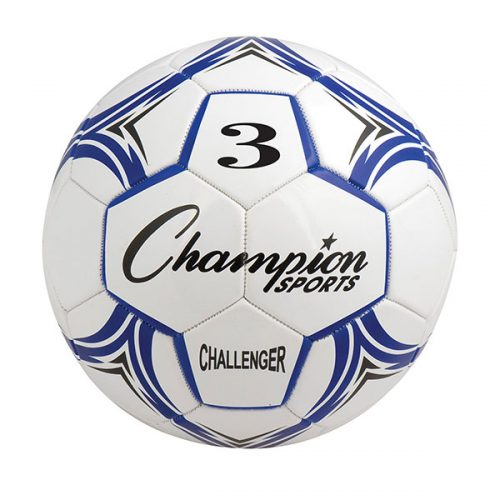 Champion Sports CH3BL Challenger Series Soccer Ball Royal & White - Size 3