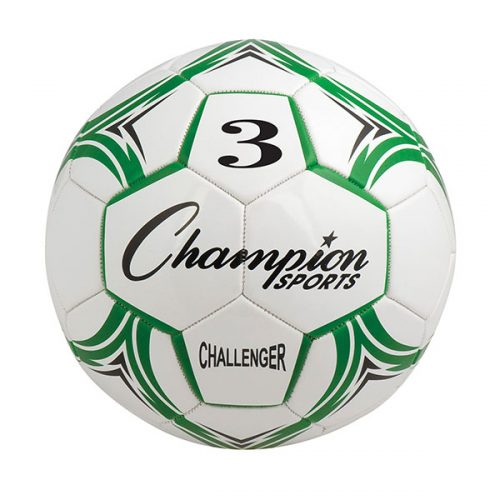 Champion Sports CH3GN Challenger Series Soccer Ball Green & White - Size 3