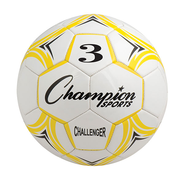 Champion Sports CH3YL Challenger Series Soccer Ball Yellow & White - Size 3