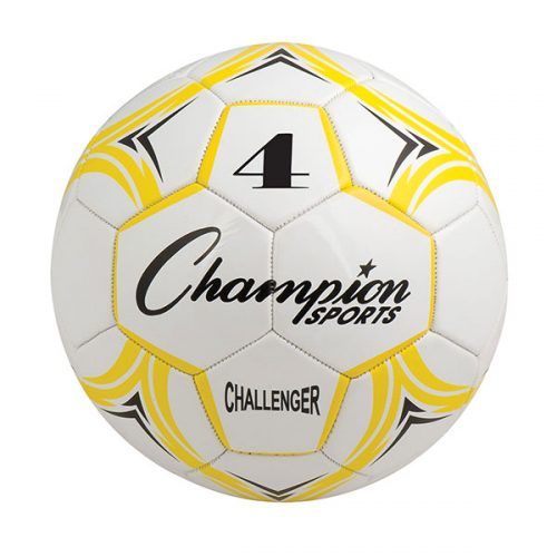 Champion Sports CH4YL Challenger Series Soccer Ball Yellow & White - Size 4