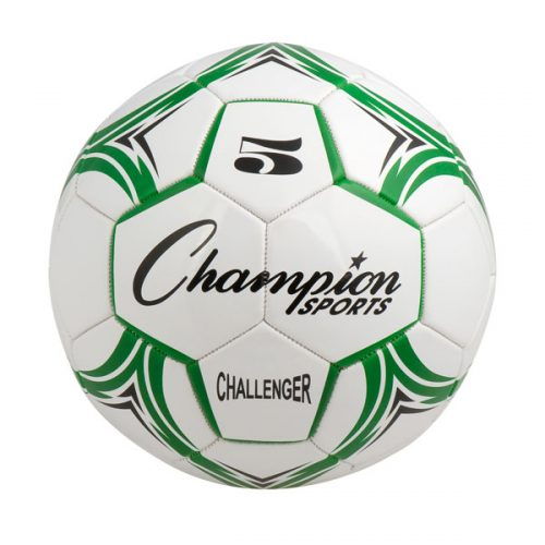 Champion Sports CH5GN Challenger Series Soccer Ball Green & White - Size 5