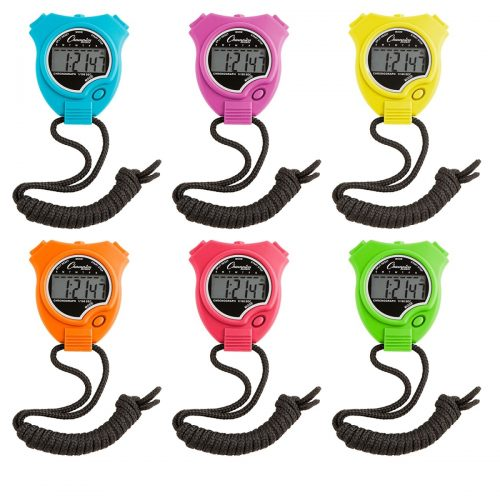 Champion Sports CHS910NSET Stop Watch Neon - Pack of 6