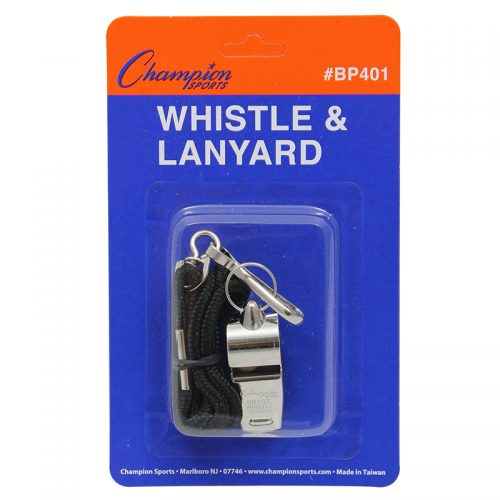 Champion Sports CHSBP401BN Metal Whistle & Lanyard