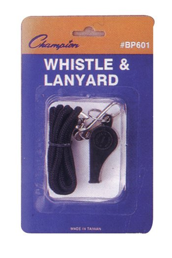 Champion Sports CHSBP601 Plastic Whistle And Lanyard Set
