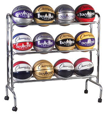 Champion Sports CHSBRC3 Portable Ball Rack 3 Tier Holds 12 Balls