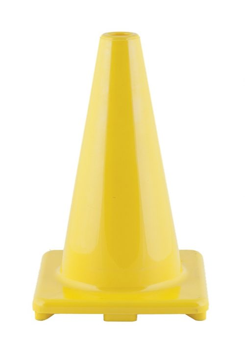 Champion Sports CHSC12YL 12 in. Hi Visibility Flexible Vinyl Cone - Bright Yellow