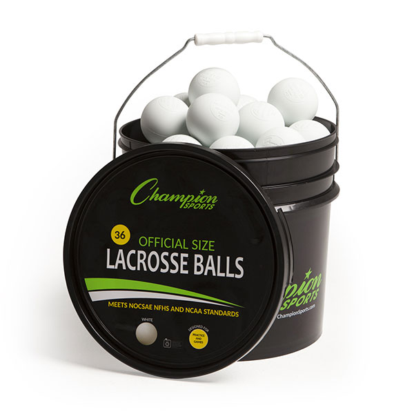Champion Sports LBWN36 Lacrosse Ball Bucket White