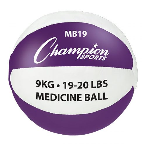 Champion Sports MB19 19-20 lbs Leather Medicine Ball Purple & White