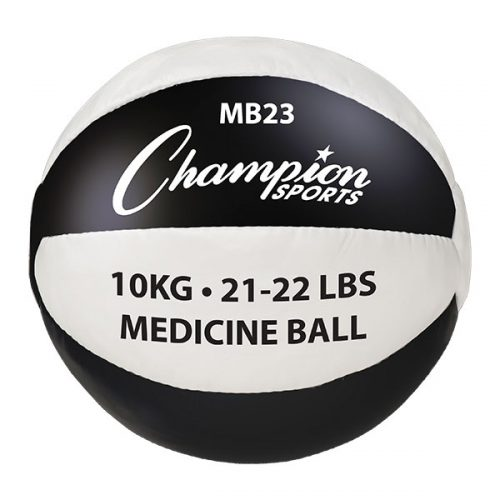 Champion Sports MB23 21-22 lbs Leather Medicine Ball Black & White