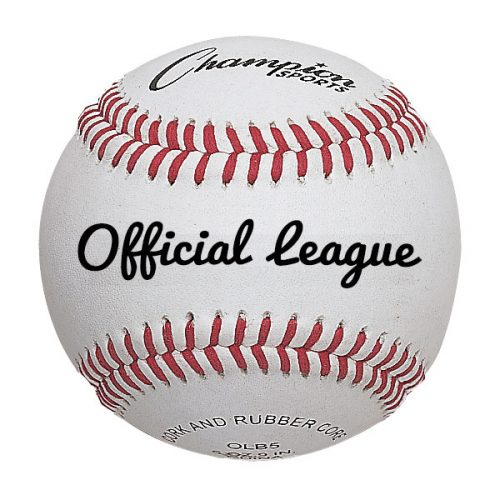 Champion Sports OLB5 3 in. Full Grain Leather Official League Baseball White & Red - Pack of 12