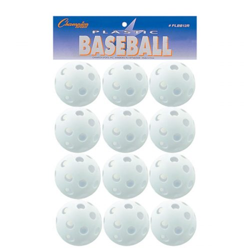 Champion Sports PLBB12R 9 in. Plastic Baseball White - Set of 12