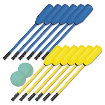Champion Sports PXSET Soft Polo Set Rhino Skin Blue and Yellow 12 Sticks-2 Balls