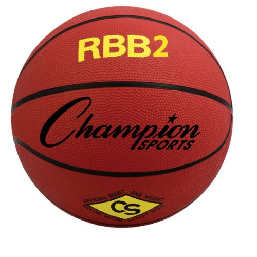 Champion Sports RBB2RD 27.5 in. Pro Rubber Basketball Red