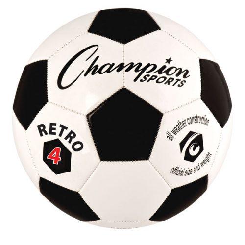 Champion Sports RETRO4 Retro Soccer Ball Black & White - Size 4