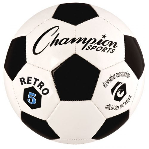 Champion Sports RETRO5 Retro Soccer Ball Black & White - Size 5
