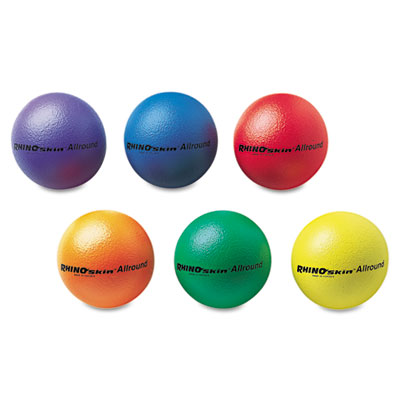 "Champion Sports RS7SET Rhino Skin Ball Sets- 7""- Blue- Green-Orange- Purple- Red-Yellow- 6/Set"