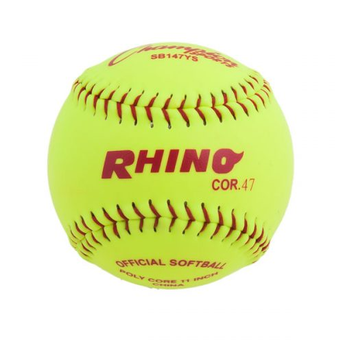 Champion Sports SB147YS 11 in. Synthetic Leather Cover Softball Optic Yellow & Red