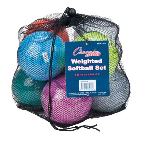 Champion Sports SBWTSET 12 in. Weighted Training Softball Set Multi color - Set of 8