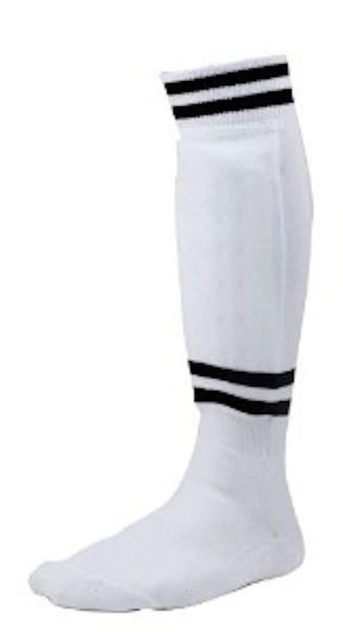Champion Sports SL4W Youth Sock Style Soccer Shinguard White - Age 4-6