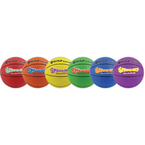 Champion Sports SQBBSET Rhino Skin Super Squeeze Basketball Set Multicolor - Set of 6