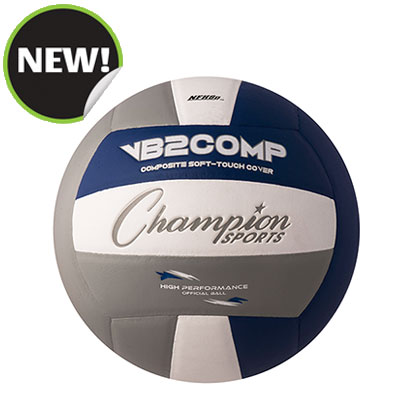 Champion Sports VB2GB 8.25 in. VB Pro Comp Series Volleyball - Gray Blue & White
