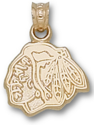 "Chicago Blackhawks 3/8"" Head Logo Pendant - 10KT Gold Jewelry"