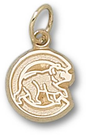 "Chicago Cubs ""C with Bear"" 3/8"" Charm - 10KT Gold Jewelry"