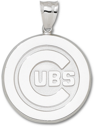 "Chicago Cubs Giant 1 5/8"" W x 1 5/8"" H ""C Cubs Logo"" Pendant - Sterling Silver Jewelry"