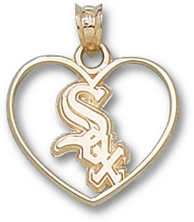"Chicago White Sox ""Sox Heart"" Pendant - 10KT Gold Jewelry"