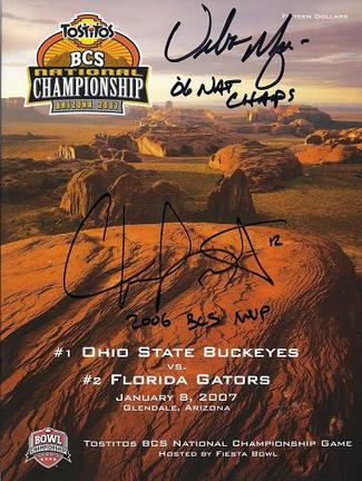 Chris Leak AND Urban Meyer Dual Autographed Florida Gators 2006 National Championship Full Program with Inscriptions (Unframed)