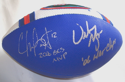 "Chris Leak and Urban Meyer Autographed Football with ""2006 BCS MVP"" and ""06 NAT CHAMPS"" Inscriptions"
