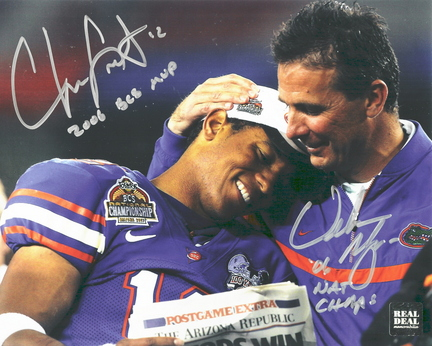 "Chris Leak and Urban Meyer Autographed ""National Championship"" 8"" x 10"" Photograph with ""2006 BCS MVP"" and ""06 NAT CHAMPS"" Inscriptions (Unframed)"