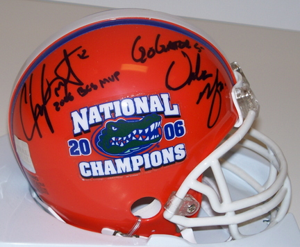 "Chris Leak and Urban Meyer Dual Autographed Florida Gators / National Championship Logo Riddell Mini Helmet with ""2006 BCS MVP"" and ""GO GATORS"" Inscriptions"