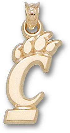 "Cincinnati Bearcats 3/4"" Pierced ""C Paw"" Pendant - 10KT Gold Jewelry"