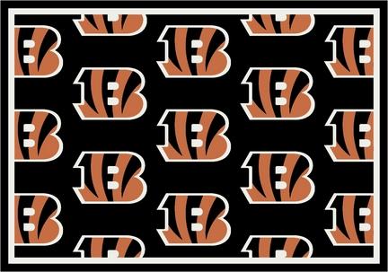 "Cincinnati Bengals 3' 10"" x 5' 4"" Team Repeat Area Rug (Black)"
