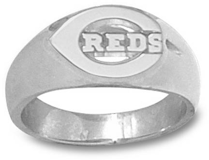 "Cincinnati Reds Polished ""C Reds"" Men's Ring Size 9 1/2 - Sterling Silver Jewelry"