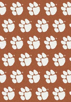 "Clemson Tigers 3' 10"" x 5' 4"" Team Repeat Area Rug (White on Orange)"