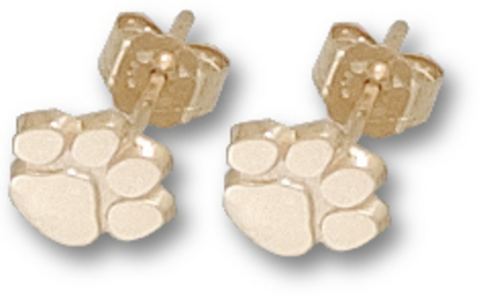 """Clemson Tigers 3/8"""" """"Paw"""" Post Earrings - 10KT Gold Jewelry"""