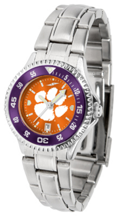 Clemson Tigers Competitor AnoChrome Ladies Watch with Steel Band and Colored Bezel