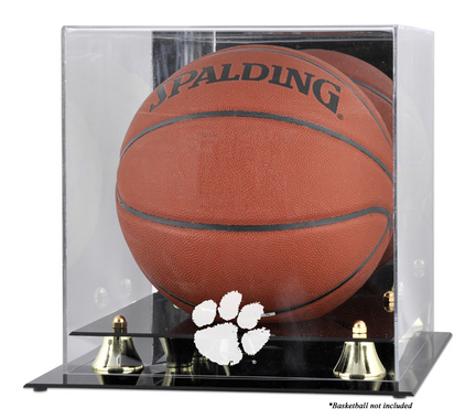 Clemson Tigers Golden Classic Logo Basketball Display Case with Mirror Back