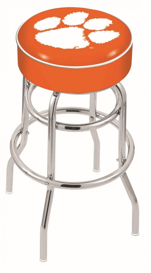 """Clemson Tigers (L7C1) 25"""" Tall Logo Bar Stool by Holland Bar Stool Company (with Double Ring Swivel Chrome Base)"""